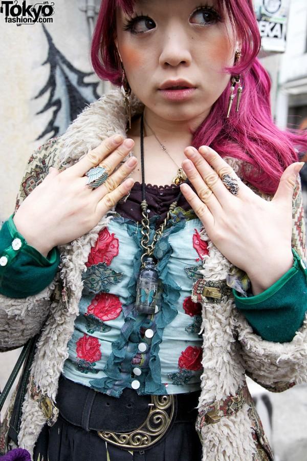 Grimoire silver rings & bottle necklace