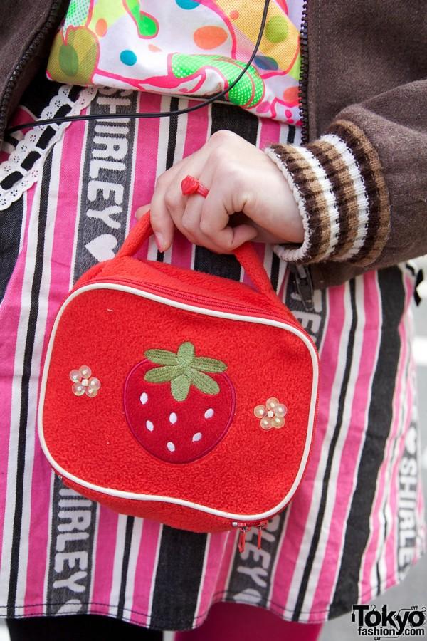Small purse with strawberry applique