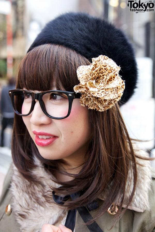 Fabric flower & large glasses