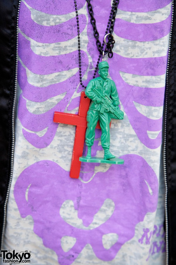 Soldier & cross on chains