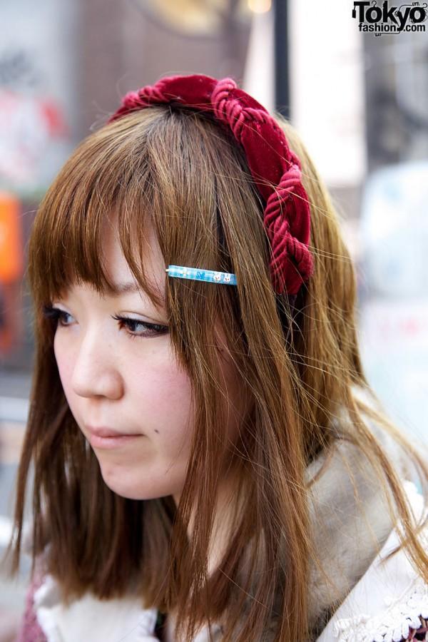 Velvet headband & hair clip