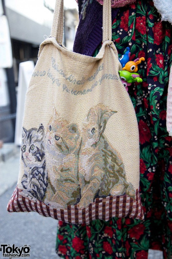 Vintage cat tapestry bag & plastic toys