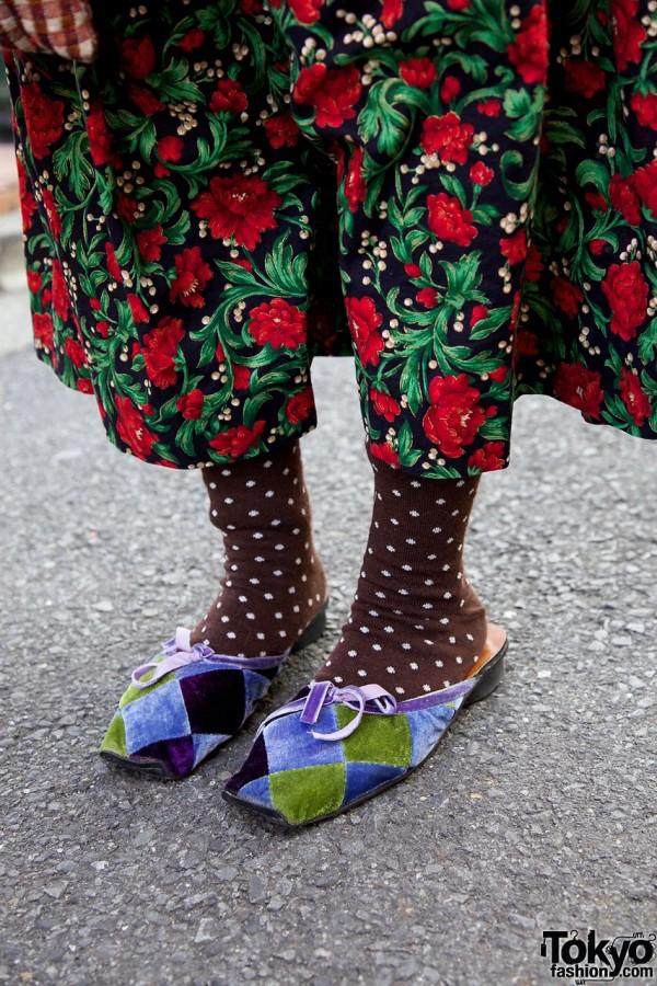 Polkadot socks & patchwork slippers