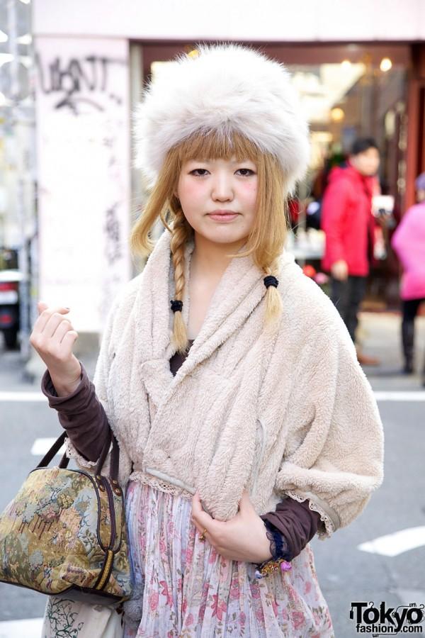 Fur Hat & plush jacket