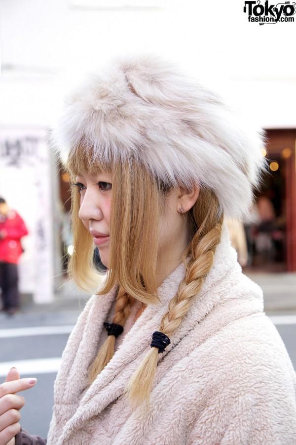 Blonde braids & fur hat