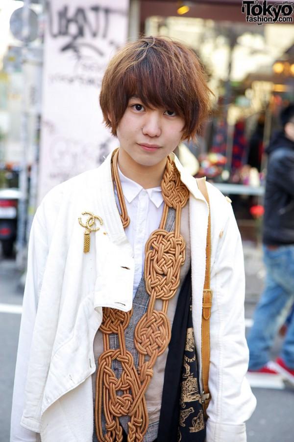 Tarock jacket & knotted tassel neckpiece