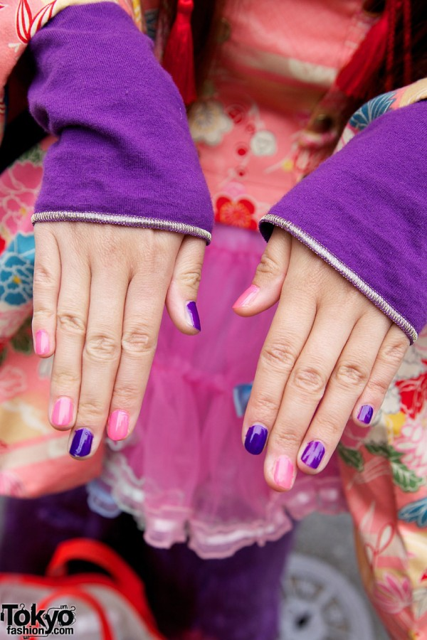 Pink and Purple Nails in Harajuku