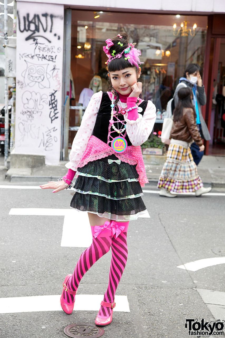6 Dokidoki Yuka In Pink Stockings Cute Bows