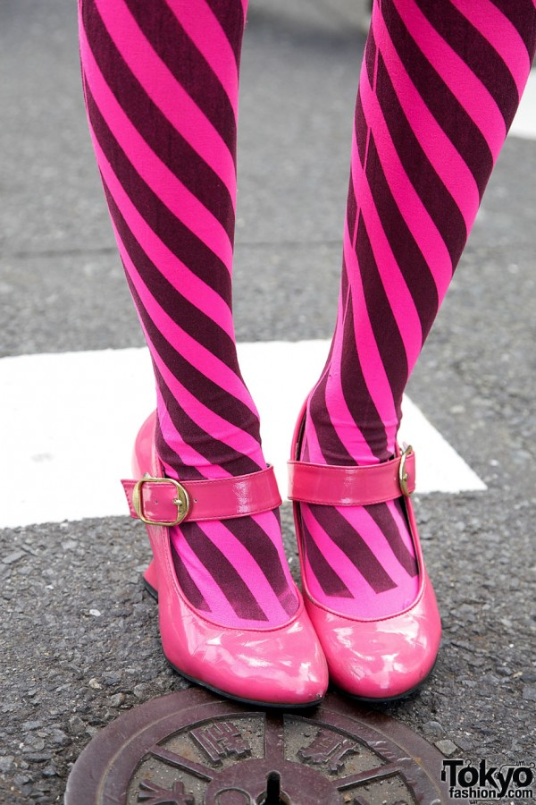 Pink Striped Stockings & Shoes