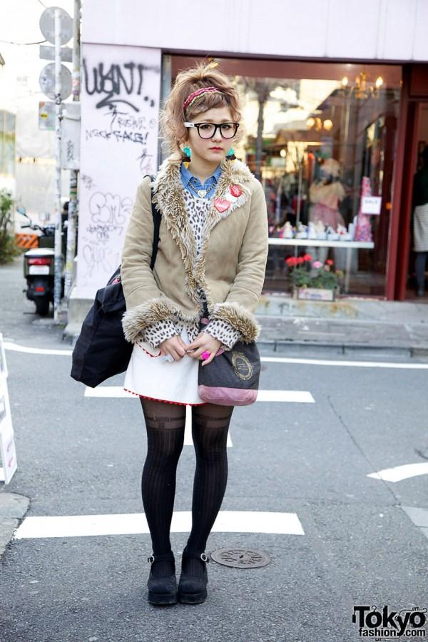 Virgin Mary, Leopard Top & Short Candy Skirt