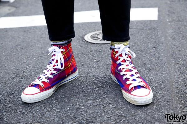 Plaid hightop sneakers