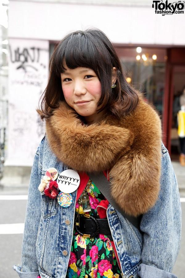 Fur stole & buttons