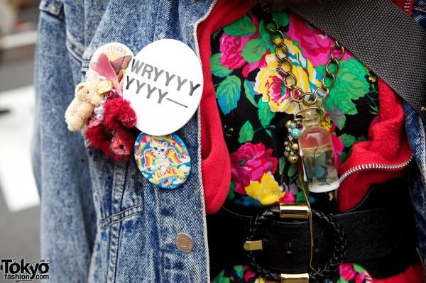 Buttons & bottle necklace