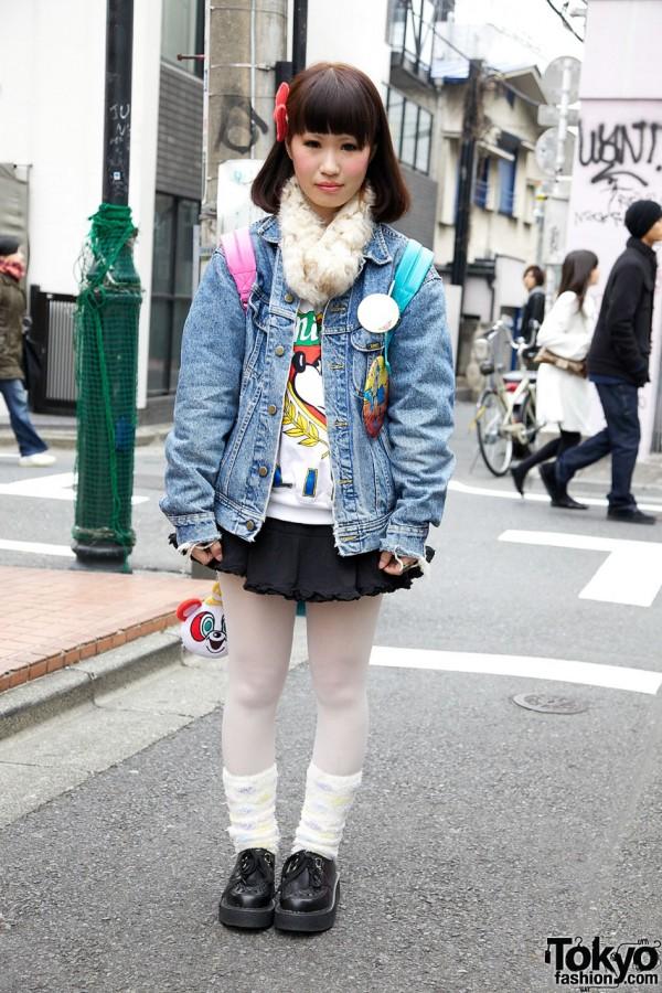 Mini skirt & denim jacket in Harajuku