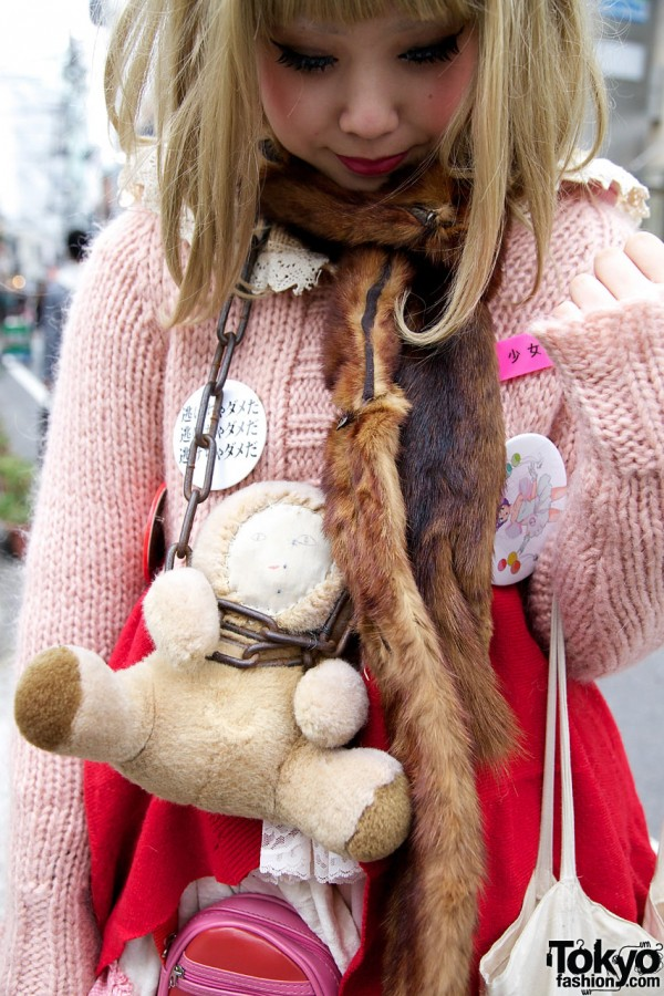 Stuffed animal on chain & fur stole