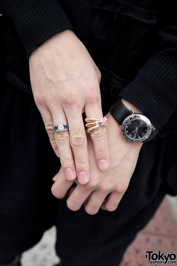 Silver & gold rings with Marc Jacobs watch