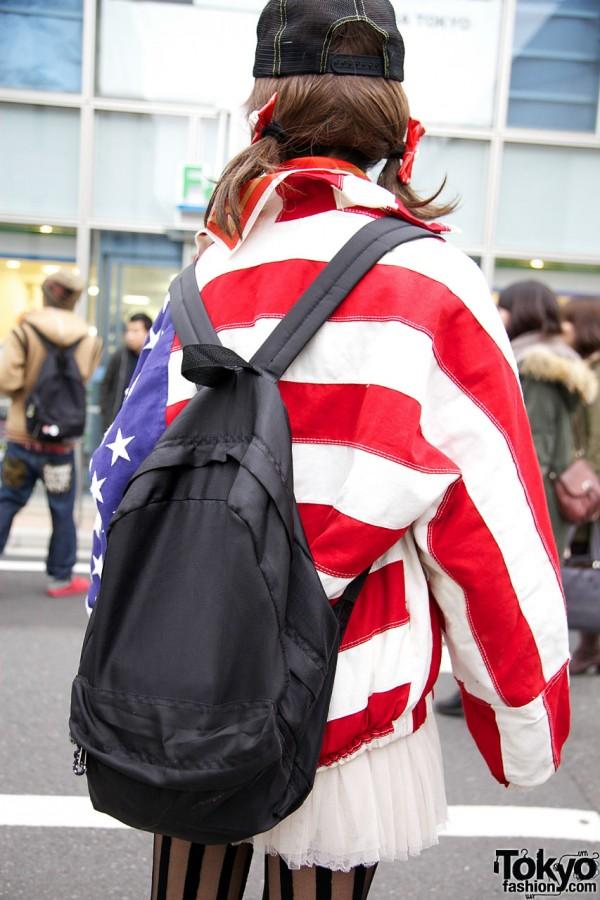 Thank You Mart Backpack & American Flag Coat
