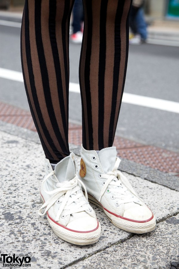 Striped Stockings & Converse Sneakers