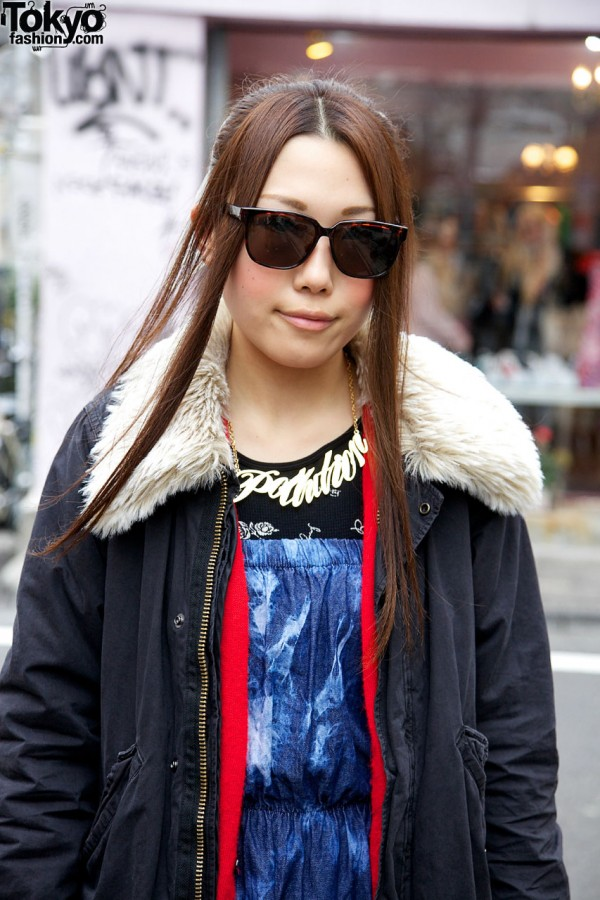 Parka with fleece collar