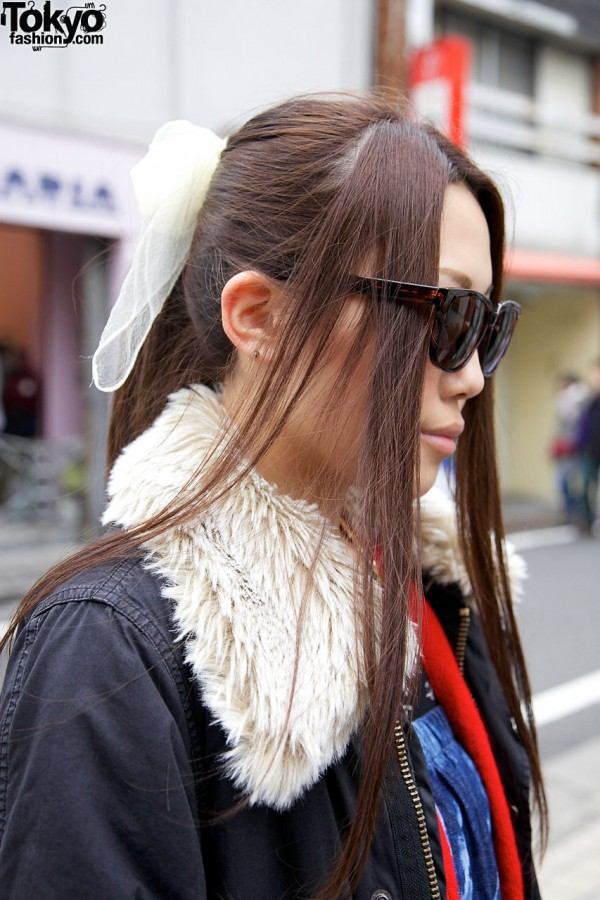 Ponytail with scarf bow & tendrils