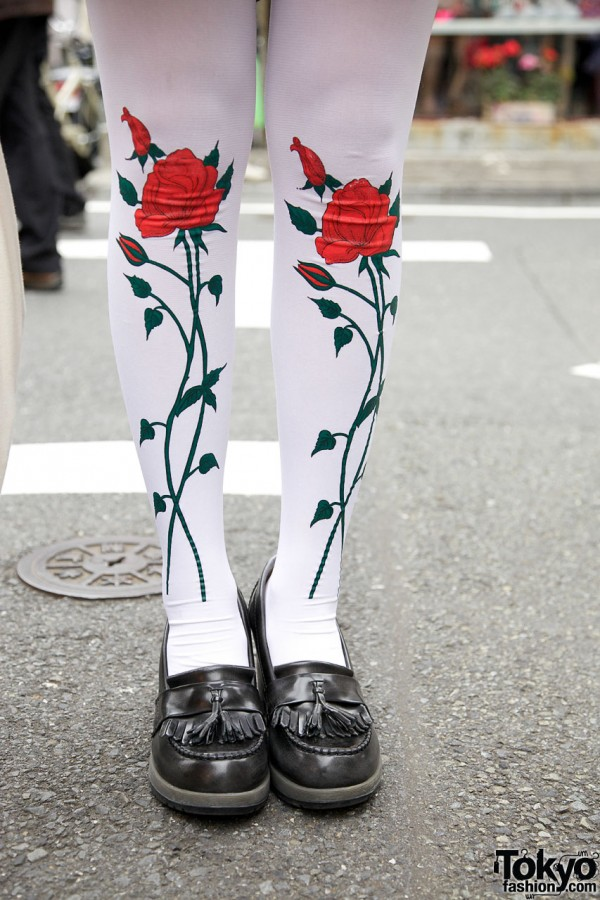 Rose tights & tasseled loafers