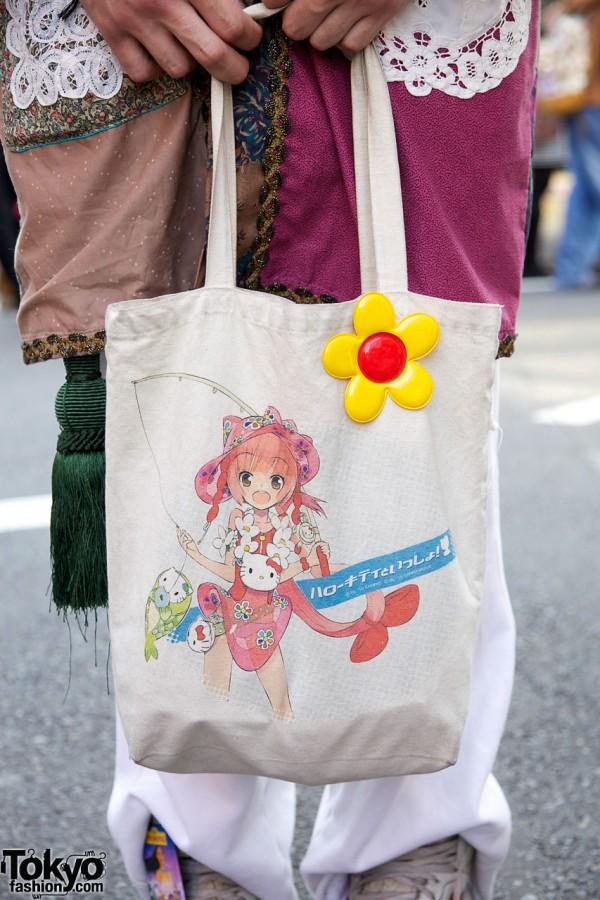Hello Kitty bag & retro daisy pin