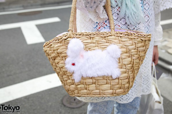 Basket purse with fuzzy bunny