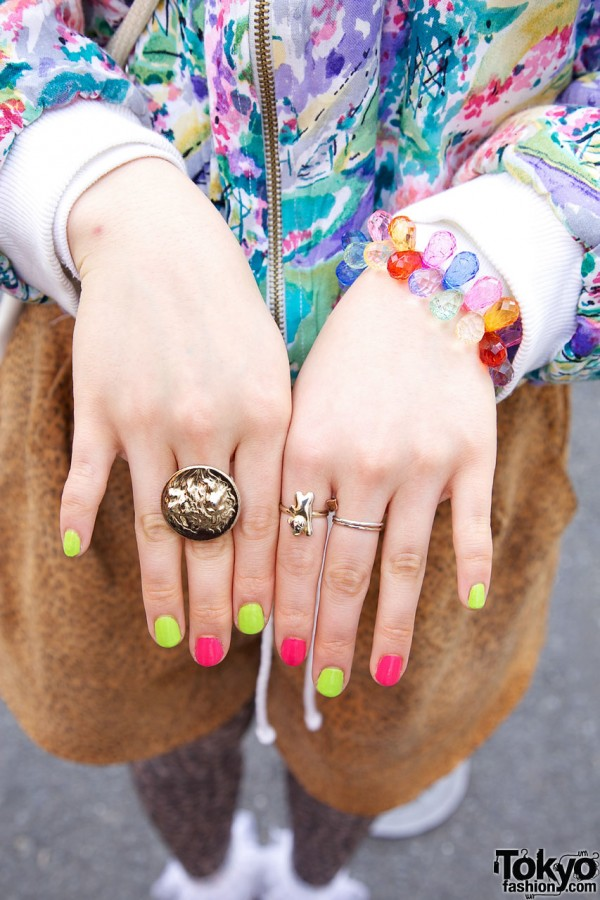 Rings and Colorful Japanese Nails