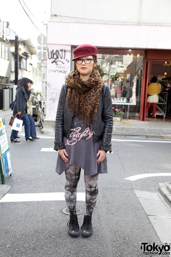 Leather Jacket, Sneakers & X-Girl Bag in Harajuku