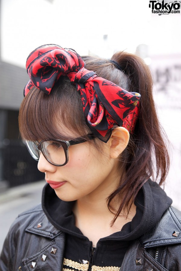 Hair Bow Scarf & Glasses