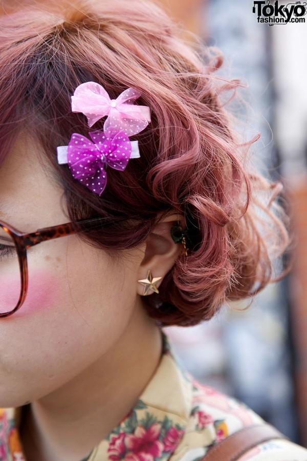 Pink Hair Bows in Harajuku