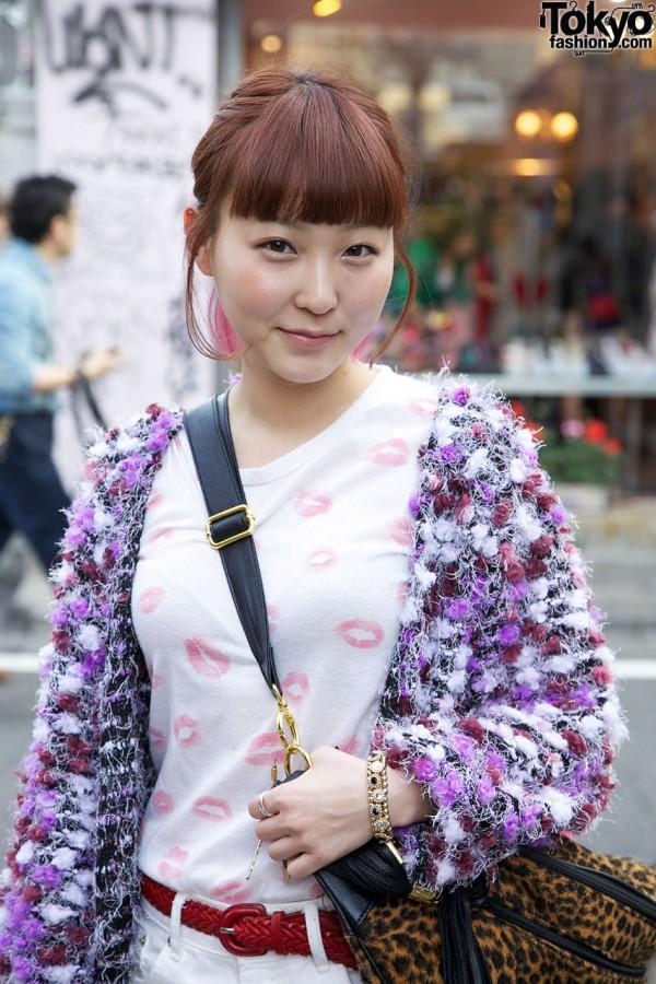 Fuzzy Sweater & Lipstick Top