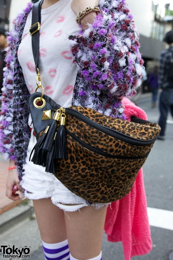 Leopard Print Bag With Tassels