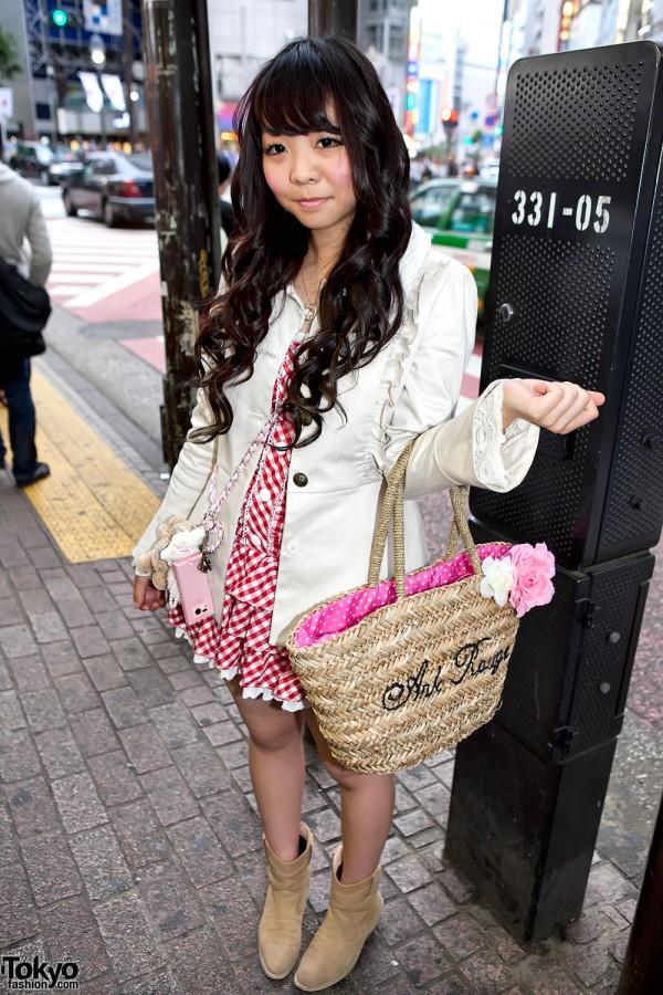 Shibuya Girl in Gingham Dress w/ Ank Rouge Straw Bag