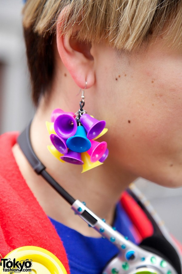 Earrings with plastic bells