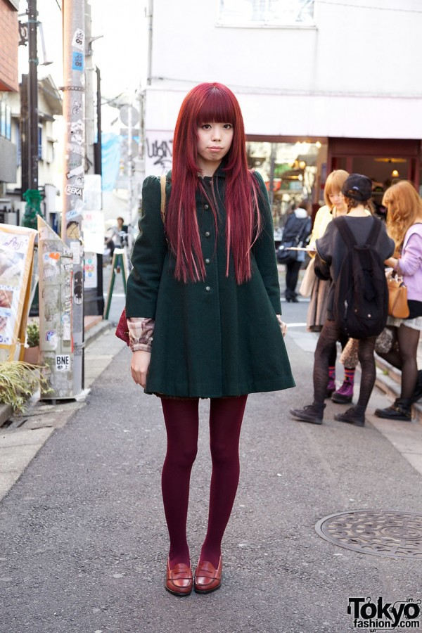Long Red Hair & Green Liz Lisa Dress in Harajuku