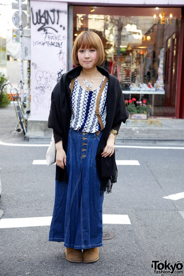 Theater Products top & long denim skirt