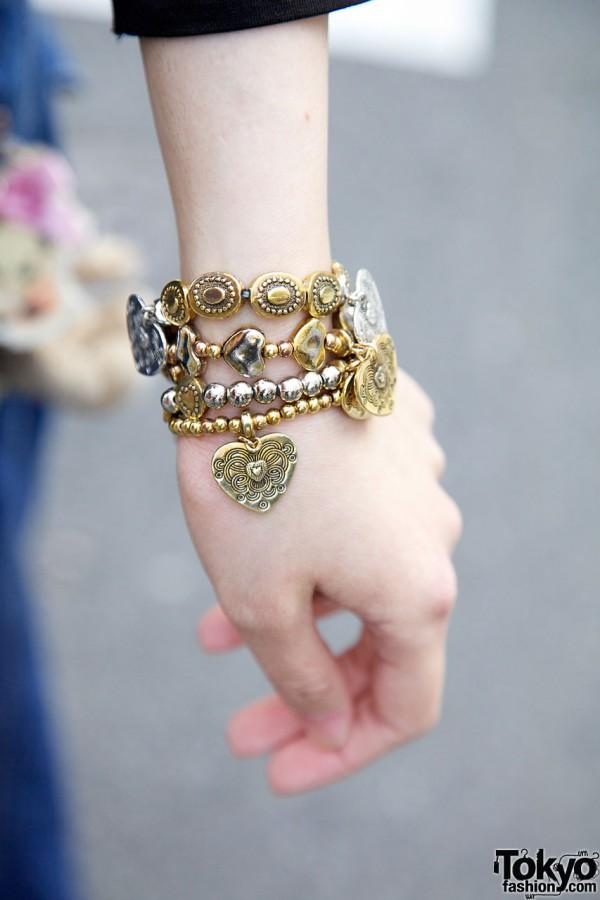 Gold & silver charm bracelet