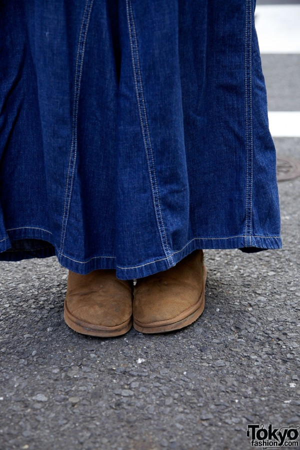 Harajuku resale denim skirt & suede shoes