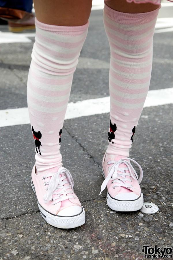 Striped Socks & Pink Sneakers