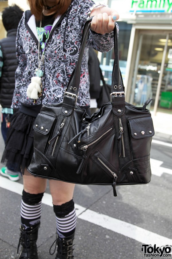 Leather bag with studs & zippers