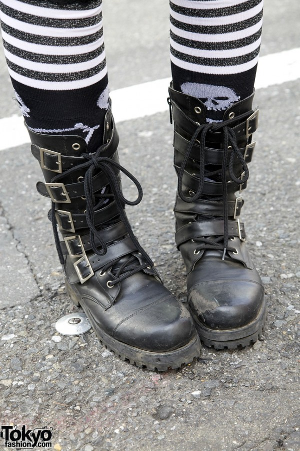 Buckled high top boots