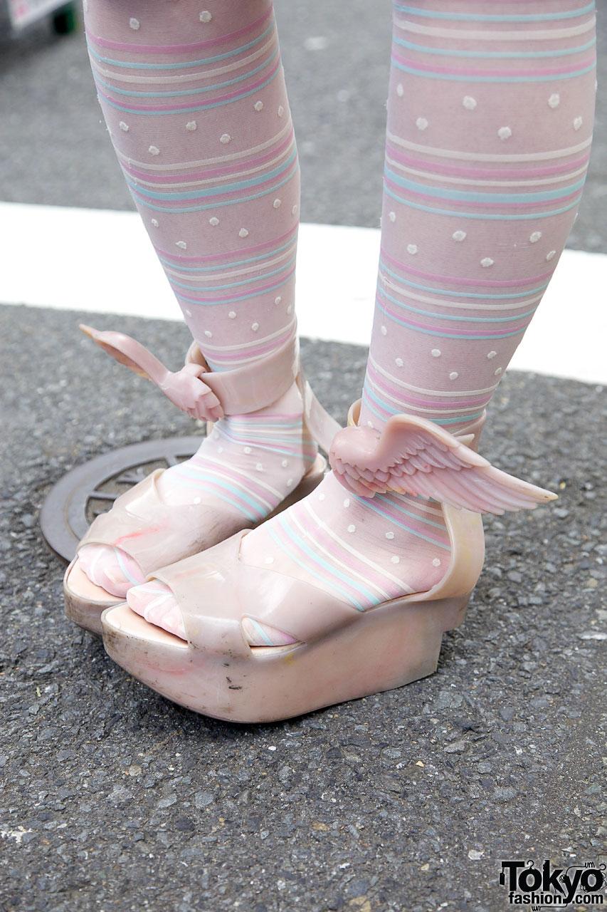 Vintage Swim Cap & Vivienne Westwood x Melissa Wing Shoes