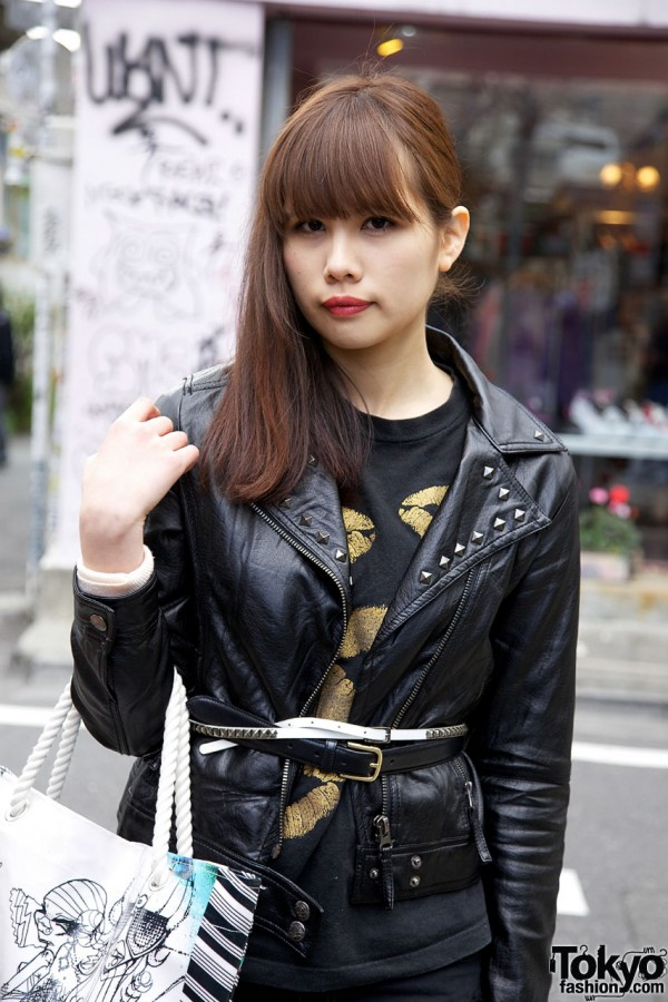 Leather jacket with double belts