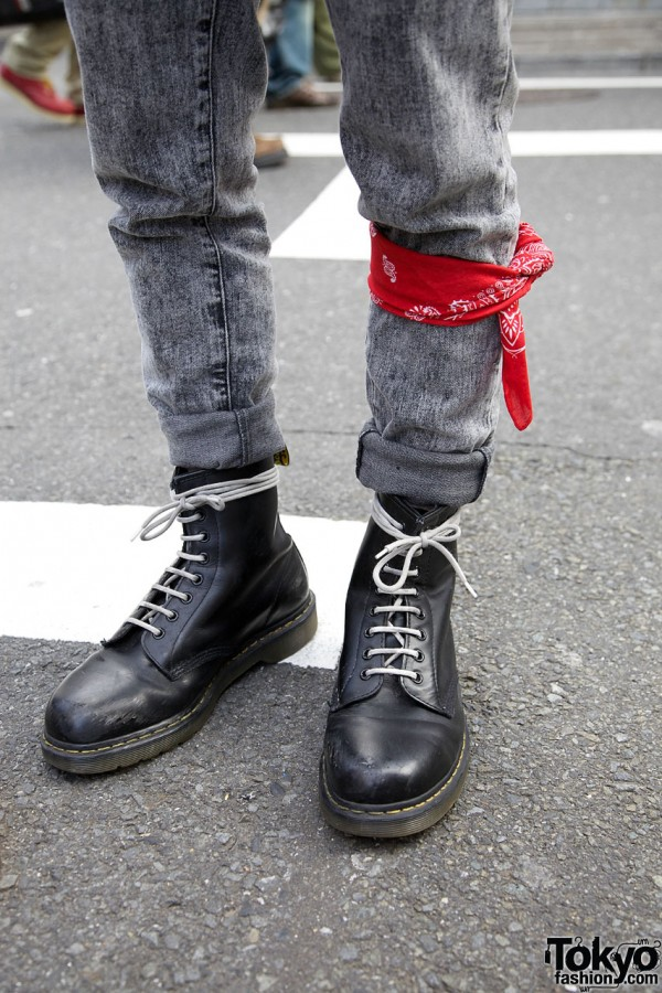 Dr. Martens boots & red bandana
