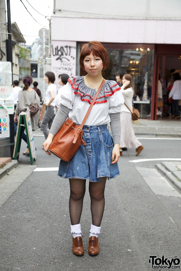 Retro Peasant Blouse & Short Denim Skirt