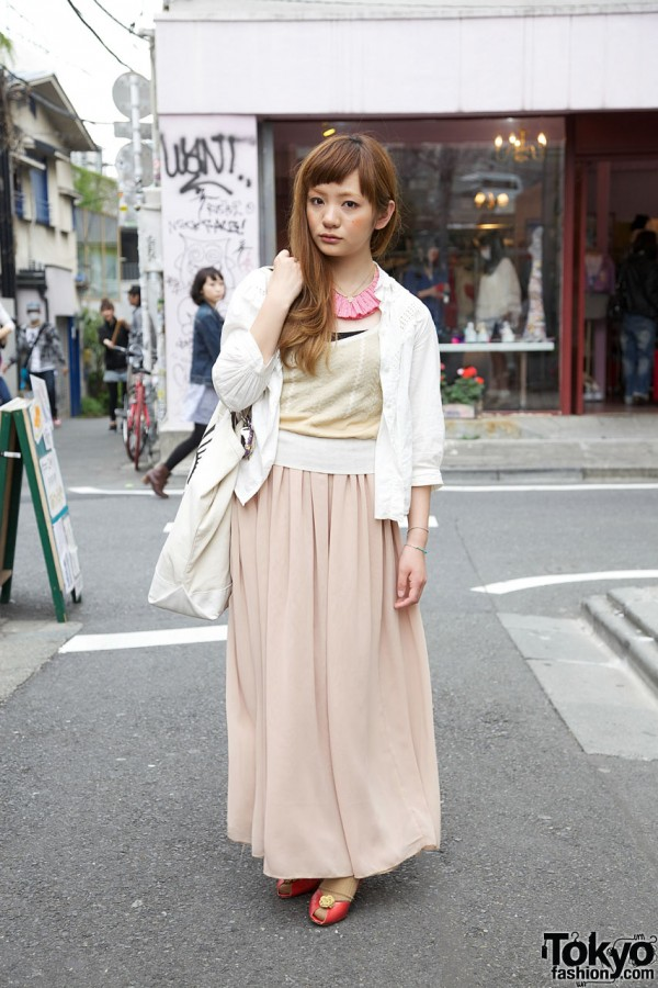 American Apparel Long Skirt & Gingham Ruffle Necklace