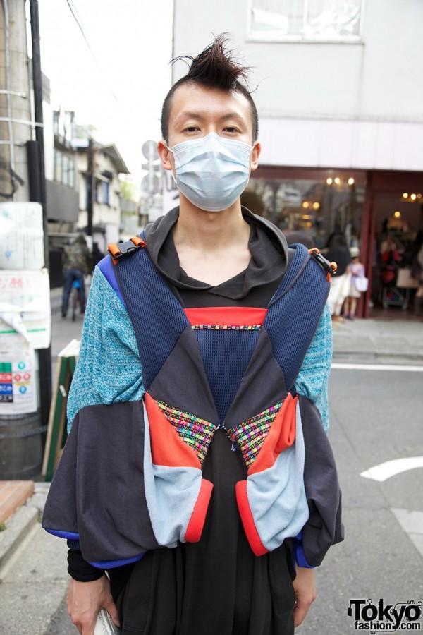 Designer in patchwork top in Harajuku