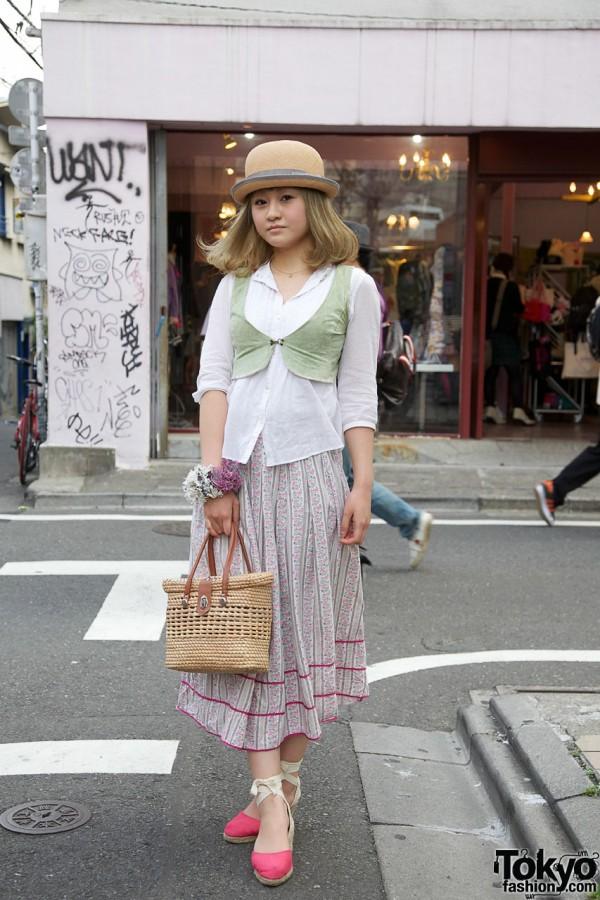 Straw Hat, Velvet Bolero & Rope Espadrilles in Harajuku