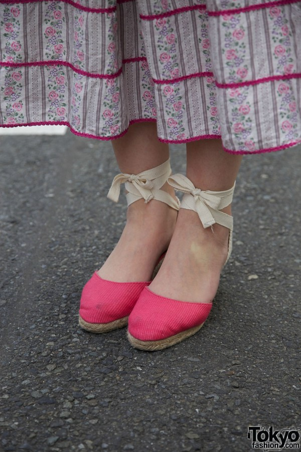 Rope espadrille shoes with ribbon ties